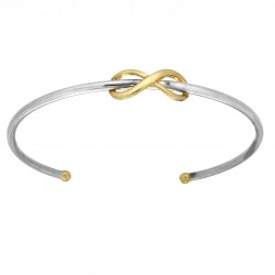 925 Sterling Silver with 375/9ct Gold Cuff Bangle